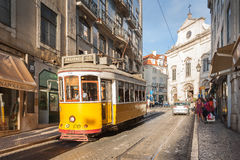 LISBON,PORTUGAL - OCTOBER 12,2012 : Romantic Lisbon street with Stock Image