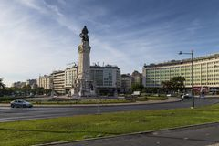 View of the Marques de Pombal Square in the city of Lisbon. stock photos