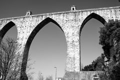 Lisbon, Portugal:the old Águas Livres (free waters) aquaduct. View of the main arches of Águas Livres (free waters) Aquaduct, that supplied water to Lisbon Royalty Free Stock Image