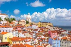 Lisbon, Portugal old city skyline. Lisbon, Portugal city skyline over the Alfama district stock image
