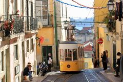 Lisbon Portugal, old town trams Royalty Free Stock Image