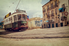 Lisbon, Portugal, 2015 04 15 - old traditional tour tram on a ol Royalty Free Stock Photo