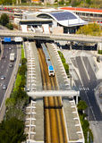 Lisbon, Portugal: Railway complex in Sete Rios area. General view of the urban railway complex in Sete Rios area, Lisbon, Portugal. Can be seen a suburban train royalty free stock photos