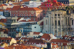 Lisbon, Portugal: Roofs, the Carmo church and convent ruins and Santa Justa elevator Stock Photography
