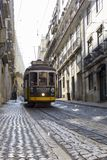 LISBON, PORTUGAL - SEPTEMBER 4, 2018: Famous Old trams on street of Lisbon.Vintage tram in Lisbon, Portugal in a summer stock image