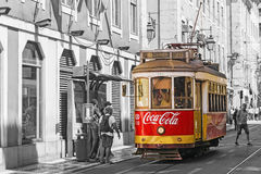 LISBON, PORTUGAL, SEPTEMBER 9, 2015: historic red retro tram adv. Ertising company Coca-Cola, the move to Lisbon Street Royalty Free Stock Images
