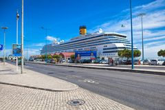 Large luxury cruise ship Costa Magica docked at Lisbon. LISBON, PORTUGAL - SEPTEMBER 14 . 2017 . Large luxury cruise ship Costa Magica docked at Lisbon Royalty Free Stock Images
