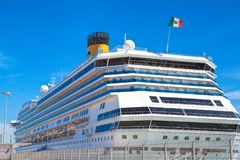 Large luxury cruise ship Costa Magica docked at Lisbon. LISBON, PORTUGAL - SEPTEMBER 14 . 2017 . Large luxury cruise ship Costa Magica docked at Lisbon Royalty Free Stock Image