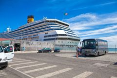 Large luxury cruise ship Costa Magica docked at Lisbon. LISBON, PORTUGAL - SEPTEMBER 14 . 2017 . Large luxury cruise ship Costa Magica docked at Lisbon Stock Photo