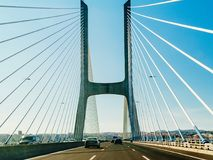 Traveling By Car To Lisbon City On Vasco Da Gama Bridge Stock Image