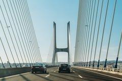 Traveling By Car To Lisbon City On Vasco Da Gama Bridge Stock Photo