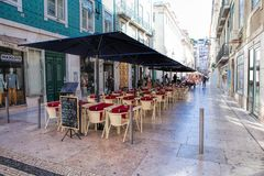 Typical traditional portuguese street in Lisbon, Portugal Royalty Free Stock Photos