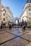 Typical traditional portuguese street in Lisbon, Portugal Stock Images