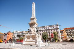 Lisbon city in Portugal. LISBON, PORTUGAL - September 27, 2017: View on the Rossio square with Pedro IV statue in Lisbon city, Portugal royalty free stock photos