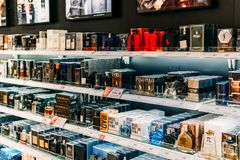 Women Cosmetic Products And Perfume For Sale In Beauty Shop Stock Photography