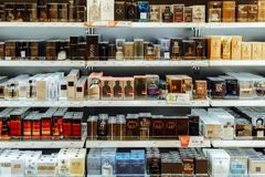 Women Cosmetic Products And Perfume For Sale In Beauty Shop Royalty Free Stock Image