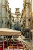 Lisbon, Portugal - Septmember 19, 2016: Street scene in the city center in the baixa with view of the elevator Stock Image