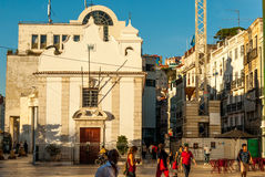 Lisbon, Portugal - Septmember 19, 2016: Street scene in old neighbourhood Mouraria Martim Moniz Royalty Free Stock Photos