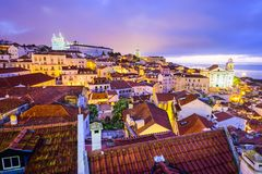 Lisbon, Portugal Skyline at Alfama Royalty Free Stock Images