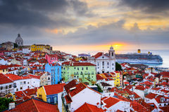 Lisbon, Portugal Skyline at Alfama Royalty Free Stock Photography