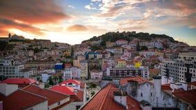 Lisbon, Portugal Skyline in Baixa stock video footage