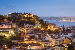 Lisbon, Portugal Skyline and Castle Royalty Free Stock Photos