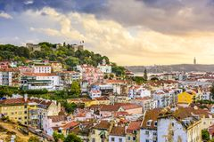 Lisbon, Portugal Skyline and Castle Stock Images