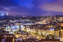 Lisbon, Portugal Skyline at Night Stock Photography