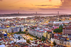Lisbon, Portugal Skyline at Night Royalty Free Stock Photos