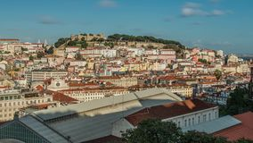 Lisbon, Portugal skyline towards Sao Jorge Castle stock footage
