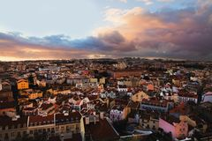 View of the old city. Lisbon, Portugal, skyline view of the city Royalty Free Stock Images