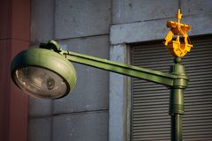 LISBON, PORTUGAL - small ships on the street lamps in Lisbon Royalty Free Stock Image