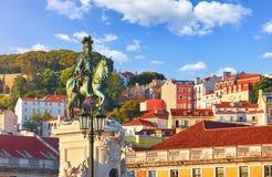 lisbon portugal Staty f?r konung Jose I royaltyfri bild