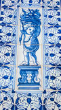 Lisbon, Portugal: street tiles with baroque motifs in Alfama quarter Royalty Free Stock Photography