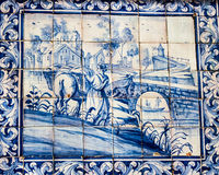 Lisbon, Portugal: tiles with bucolic scene in Loios square, Mouraria quarter Royalty Free Stock Photos