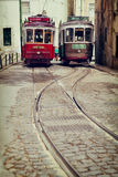 Lisbon, Portugal, 2015 04 24 - two old traditional tour trams on Royalty Free Stock Photos