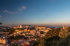 Lisbon , Portugal view from the Castle during sunset Stock Images