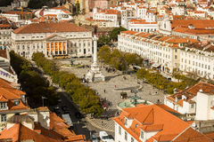 Lisbon, Portugal: View of Rossio or D. Pedro 4th square Stock Photos