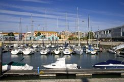 Lisbon Portugal yachts dock dream tourism Royalty Free Stock Images