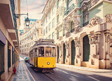 Lisbon, Portugal. Yellow tram in Lisbon, Portugal