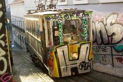 Lisbon, Portugalia: Funicular Lavra Zdjęcie Royalty Free