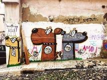 Lisbon, Portugalia - 04 2016 Grudzień: Uliczna sztuka, graffiti na th Zdjęcia Royalty Free