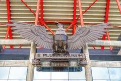 LISBON PORTUGALIA, KWIECIEŃ, - 05, 2018: Eagle rzeźba przy entran Obraz Royalty Free