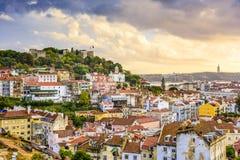 Lisbon, Portugalia linia horyzontu i kasztel, Obrazy Stock