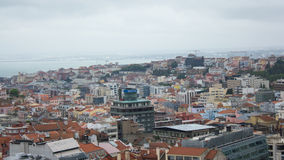 Lisbon, Portugalia, ogólny widok: tagus rzeka, śródmieście i 3 7 wzgórzy, Obraz Stock