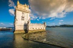 Lisbon, Portugalia przy Belem wierza na Tagus rzece Zdjęcia Stock