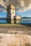 Lisbon, Portugalia przy Belem wierza na Tagus rzece Fotografia Stock