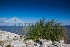 LISBON PORTUGALIA, Styczeń, - 31, 2011: Teren wokoło parka narody, z Vasco Da Gama mostem w tle obrazy royalty free