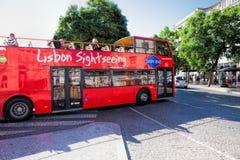 LISBON PORTUGALIA, WRZESIEŃ, - 10 2017 autobusowa wycieczka turysyczna w Lisbon, Po Zdjęcie Stock