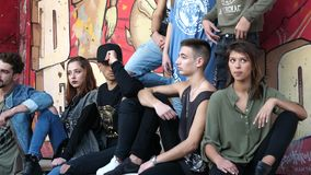 Lisbon, Potugal - December 24, 2017: Group of models in denim. Professional shot in 4K resolution. 024. You can use it e.g. in your commercial video, medical stock video footage
